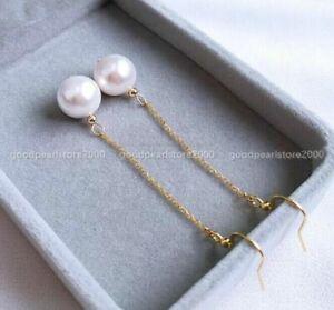 8-9mm Perfect Round White Australia South Sea Pearl Dangle Earring 14k Gold p