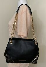 Michael Kors Jet Set Medium Chain Messenger Studded Leather Shoulder in Black