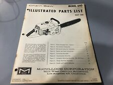 mcculloch 640 chainsaw,illustrated parts list,Mcculloch may 1964