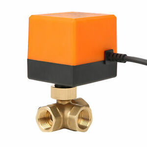 DN15 DC12V 3 Way 3-Wire Electric Motorized Brass Ball Valve For Cold/Hot Water