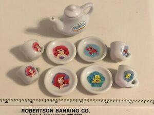 Disney Little Mermaid Mini Porcelain Tea Set, Pot w/ Lid, 4 plates & 4 cups