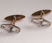 Rock Crystal Cufflinks  Solid Silver 875 star  Soviet Russian Vintage 1970s