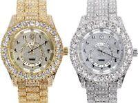 Men Iced Watch Gold Silver Bling Rapper Simulate Diamond Arabic Dial Hip Luxury
