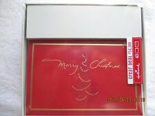 Hallmark Christmas Cards 1 Box 40 Cards & Envelopes Red with Gold Trim 7-3/4 x5