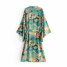 Lady Japanese Kimono Coat Loose Yukata Outwear Long Bathrobe Top Crane Foral