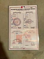 Washington Nationals Milwaukee Brewers 8/31/17 Game Used Lineup Card