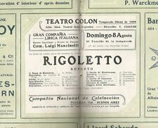 Programme Colon Teather Opera A Bonci T Ruffo 1909
