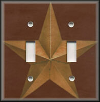 Metal Light Switch Plate Cover - Barn Star Brown Country Farmhouse Decor Brown