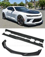 For 16-Up Camaro SS | ZL1 Style PAINTED BLACK Front Lip Splitter & Side Skirts