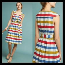 NWT Anthropologie Maeve Cricket Club Dress Multicolor Stripes Pockets 8 $150