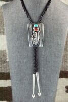 Turquoise, Coral & Sterling Silver Bolo Tie - Wilbur Myers