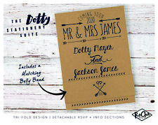 Personalised Wedding Invitations Tri-Fold Kraft Day Evening RSVP Set Info Card