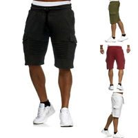 Men Cargo Shorts Knee High Gym Sports Drawstring Short Pant Casual Pleaded M-3XL