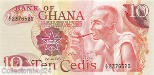 Ghana 10 Cedis 1978 Unc Pn 16f