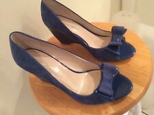 Womens 9 M Franco Sarto Blue 3 inch wedge open toe suede shoe NWOB
