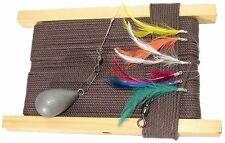Mackerel Feathers Fishing Handline Deluxe Traditional Wooden Mackerel Hand Line