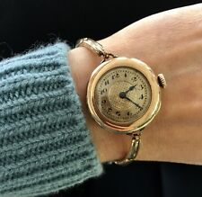 Vintage Womens Gold Filled Watch 15j Duro Empress A.W.C.Co Case Stretch Bracelet
