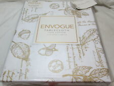 "New Envogue Round 70"" Tablecloth Leaves, Hazel Nuts, Pine Cones  ~ Gold & White"