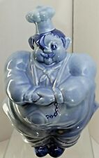 Red Wing Pottery Chef Pierre Blue Cookie Jar w/ Pocket Watch USA 40s Flaws