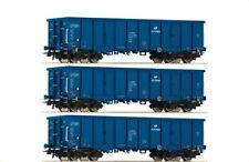 ROCO 76128 PKP Cargo 3er-Set Offene Güterwagen Eaos 2151 blau Ep VI KK H0 NEU