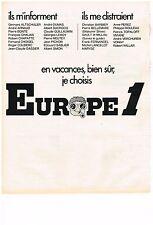 PUBLICITE  1971   EUROPE 1 radio   EN VACANCES BIEN SUR....