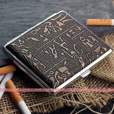 Egyptian Style Metal Cigarette Case Box Hold For 20 Cigarettes 300B