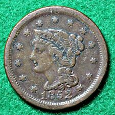 1852 LARGE CENT in FINE (F) CONDITION