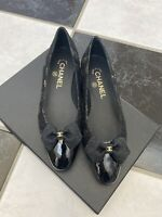 NIB 100% AUTH Chanel 15K G31330 Black Patent Leather Cap Toe Flats $850