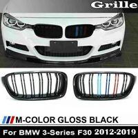 For 2012-2018 BMW F30 328i 335i 4D Front Kidney Grill Grille Gloss Black M-Color
