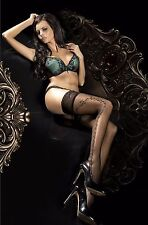 WOMEN'S LADIES SEXY BLACK PATTERNED  HOLD-UPS HOSIERY WITH FULL LEG SIDE PATTERN