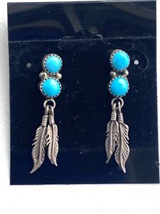 Vtg Navajo Native American Sterling Silver Turquoise Feather Earrings