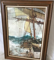 The Rising Wind Montague Dawson Poster Print Glass Front Wood Framed