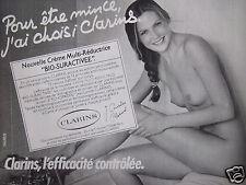 PUBLICITÉ 1983 CLARINS POUR ÊTRE MINCE - SEINS NUS - ADVERTISING