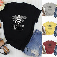 Women Casual Summer Top Bee Happy Letter Print T-Shirt Short Sleeve Blouse Tees