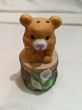 Vintage Teddy Bear on Stump with flowers, Salt & Pepper Shaker, NEW