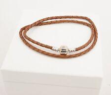Authentic PANDORA Brown Braided Double Leather Bracelet 590705CBN-D