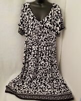 JMS Just My Size Womens Plus Black/White Floral Dress Size 1X (16W)