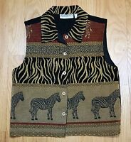 Dressbarn Women's Vest Size Large Safari Zebra Black Brown Jacket Flawless