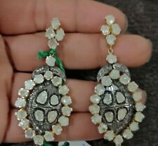 Antique Design Polki & Diamond 925 Solid Silver Victorian Wedding Gift Earring