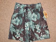 Mens Newport Blue Swim Surf Trunks Shorts Size XXL Liner Tie Floral Green Gray