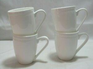 Mikasa Loria White Bone China Coffee Mugs Set of Four New