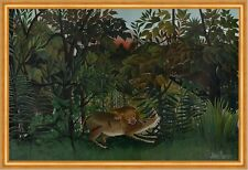 The Hungry Lion attacking a Antelope Henri Rousseau cazar animales león B a2 02248