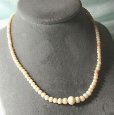 Angel Skin Coral Graduated Bead Necklace w Gold Diamond Clasp 13.5 grams