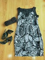 LIZ JORDAN Black And White Abstract Print Dress Size Large 12 / 14 Casual Fun
