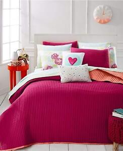 Martha Stewart Whim F/Q Turnabout Lipstick Pink/Orange Reversible Quilt+2 Shams
