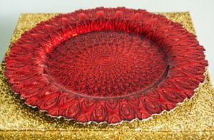 CHRISTMAS PEACOCK DESIGN GLASS CHARGER PLATE XMAS DINNER TABLE WEDDING DECOR