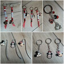 PERSONALISED BEADED MINNIE MICKEY MOUSE KEYRING/BOOK BAG TAGS/NAME/STOCKING FIL