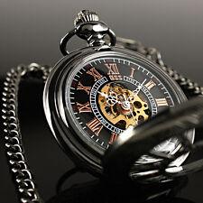ESS Retro Black Dial Skeleton Mechanical Vintage Steel Chain Mens Pocket Watch