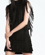 NWT Zara Set Fringed Skirt & Fringed Blouse Top Black Faux Suede Sz M 7901/254