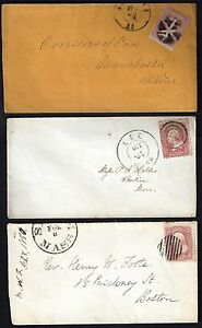 US 1860's THREE FANCY CANCEL COVERS